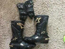 Alpine stars boots and gloves