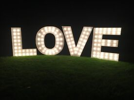 Huge set of 4 feet tall (1.2m) illuminated LOVE letters wedding fairground circus shop bride groom