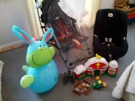 Children's car seat / push chair / and toys