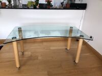 Bespoke glass top dining table with oak legs for sale