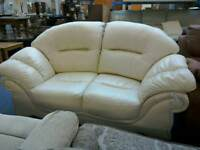 Two seater sofa cream leather #32129 £129
