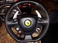 Thrustmaster Ferrari 458 Italia racing wheel & pedals for PC & Xbox360 - like new £45