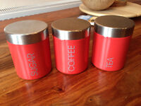 Red-Set-Of-3-Tea-Sugar-Coffee-Cannisters-Used