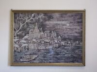 Large Handcrafted Batik Art from India in a Solid Wood Frame
