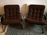 Retro single seat arm chairs x 2 [brown]