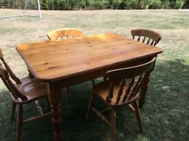 Reclaimed pine table and 4 beech chairs