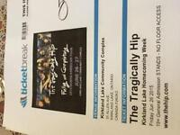 Tragically hip tickets for sale