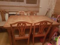 Solid pine dining table with 6 chairs perfect for shabby chic project