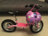 Puky pink balance bike ' prinzessin lillifee ' with rear brake and Micro floral dot helmet