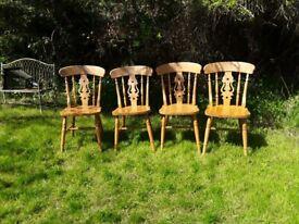 4 pine farmhouse chairs
