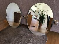 2 Oval Tilting Bathroom Mirrors, with brass fittings, in Lovely Condition