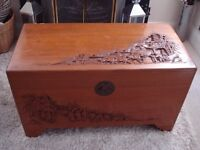 REPRODUCTION CHINESE OTTOMAN - BLANKET OR SHOE BOX - COFFEE TABLE - CHEST - TRUNK