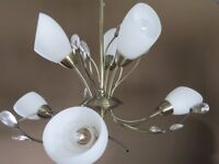 Brass Light Fitting with White Glass Shades