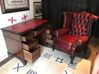 Chesterfield / Thomas Lloyd Oxblood Captains Leather Topped Table & Queen Anne Wing Back Chair