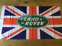 Land Rover series 1 2 3 lightweight defender discovery Range Rover workshop flag banner
