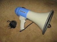 monacor portable public address megaphone.with siren