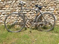Men's Traditional Bicycle in good working order with lights, mudguards and a safety helmet.