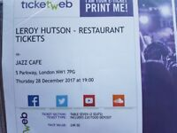 Tickets for Leroy Hutson at the Jazz Cafe tickets TONIGHT + Restaurant seating with £20 off meal