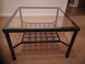 Ikea glass coffee table.