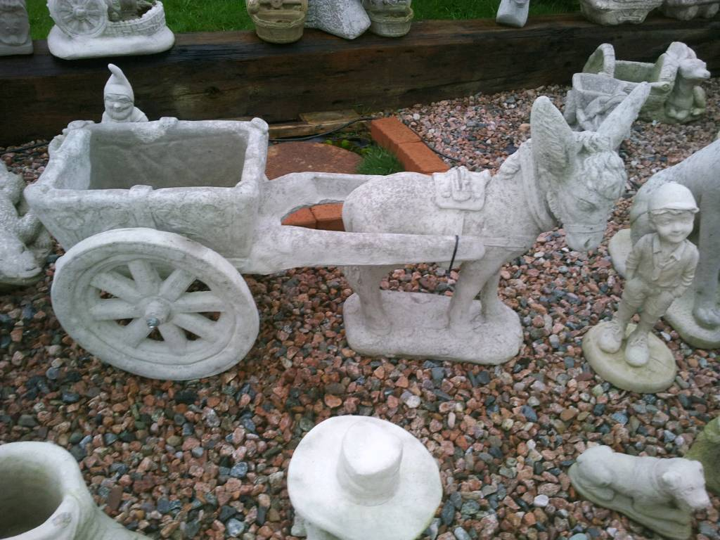 Concrete Donkey with Cart Garden Ornament