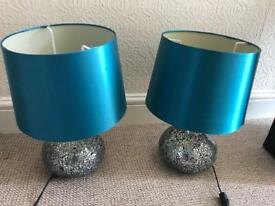 Pair of mirror sparkle lamps with teal shades