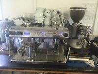 Commercial Expobar Two Group Coffee Machine, Automatic Grinder and Knockout Box + Accessories