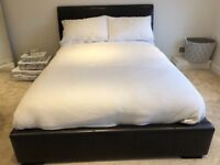High quality faux leather double bed frame and John Lewis mattress