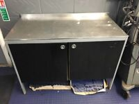 Stainless steel topped storage cupboard/workbench 90cm high, 65cm deep, 127cm wide