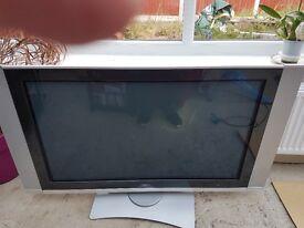 "Hitachi 42"" Plasma flat screen TV with remote swivel stand"