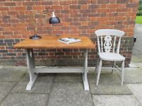 Small Vintage FRENCH LINEN Grey farmhouse breakfast TABLE Desk Craft Station & CHAIR Shabby chic