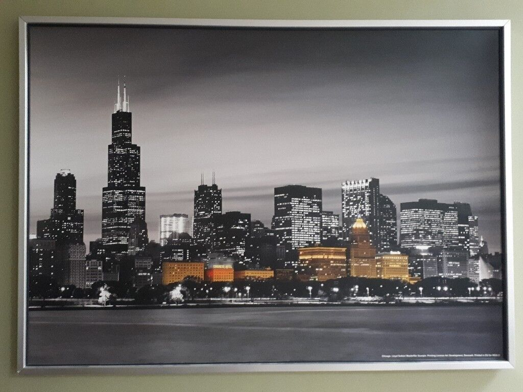 Ikea large Chicago City night skyline print | in Oxted, Surrey | Gumtree