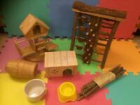 Wooden hamster toys and accessories