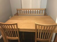Jysk silkeborg oak top 6 seater table with 3 matching chairs and matching storage bench