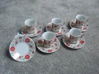 6 SMALL COFFEE CUPS AND SAUCERS - MADE BY GOLD PRESTU