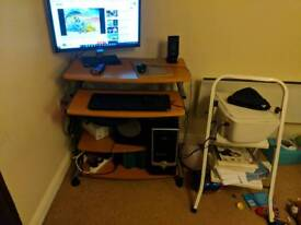 Computer table, chair and printer