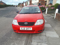 2003 Toyota Corolla, red, excellent condition, MOT to May 2019