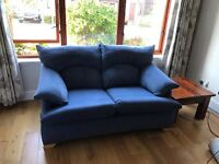 2 seater and 4 seater fabric sofas blue
