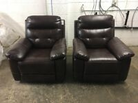 New/Ex Display LazyBoy Brown Leather Electric Recliners Chairs 2 x 1 Seater Sofas