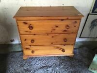 Solid Pine Three Draw Chest of Draws - Excellent Condition
