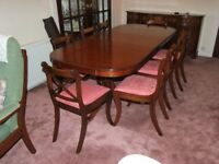 GOOD QUALITY MAHOGANY DINING SUITE 8 CHAIRS EXTENDING TABLE & SIDEBOARD FREE DELIV IN GLASGOW AREA