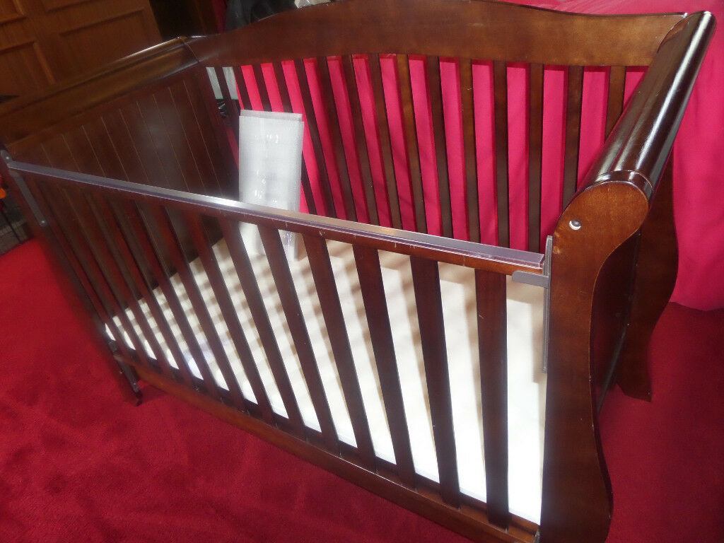 BabyStyle Hollie Sleigh Cot Bed & Drawer (Rich Walnut) - BARGAIN !