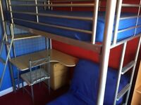 TAKE High sleeper bed with Desk and Futon chair