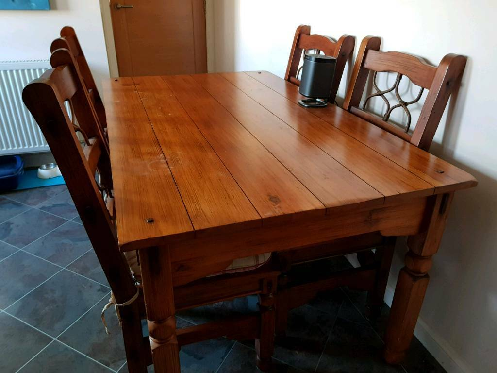 beautiful wooden kitchen dining table 4 chairs  solid