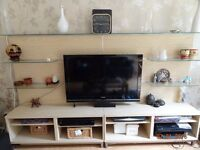 Beautiful Lounge Cabinet set with TV mount and 6 glass shelves