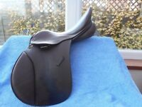 """WIDE FIT SADDLE, Brown Leather, Wide GFS GP Saddle 16"""" inch seat"""
