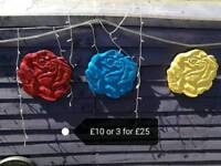 Stunning painted rose plaques