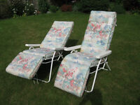 Two luxury Sun-Loungers, very thickly padded, fully adjustable. As new. £40.