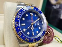 New boxed with papers Two tone bracelet blue dial blue ceramic bezel Rolex GMT Master II watch Auto