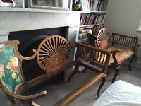 Vintage pair of Edwardian love chairs in need of restoration