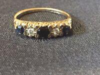 Antique 9ct, 375, Yellow Gold Sapphire & Diamond Ring